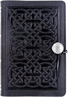 product image for Celtic Knot American-Made Embossed Leather Writing Journal Cover in Black, 6 x 9-inch + Refillable Hard Bound Insert Book