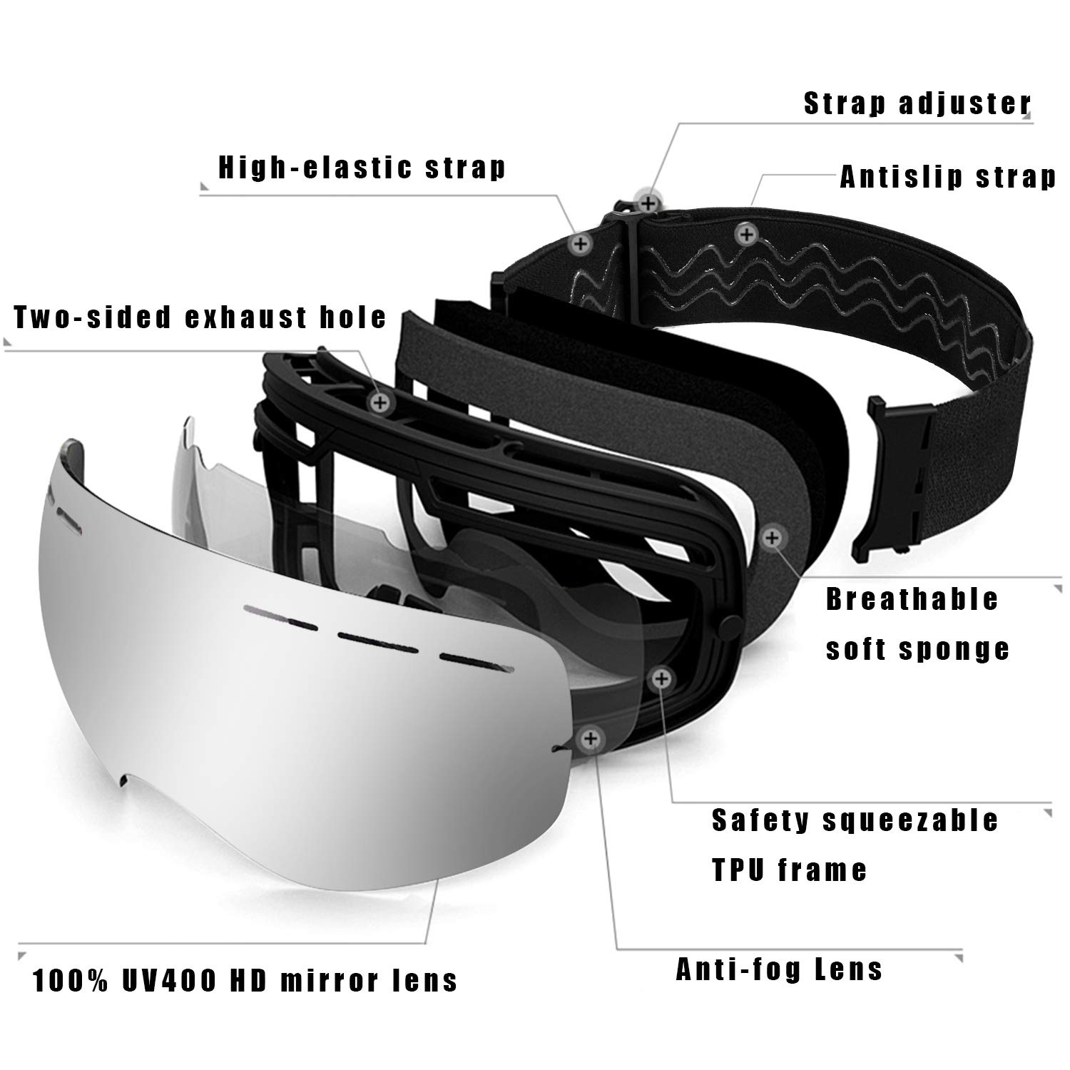 UPSKR Ski Goggles Anti Fog Snowboard Goggles Double Lens Silver with 180/° Wide View 100/% UV400 Protection,OTG Premium Snow Goggles for Men /& Women /& Teenage