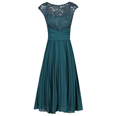 35f77a869ea1 Pretty Kitty Fashion Teal Blue Lace Top Chiffon Cocktail Dress: Amazon.co.uk:  Clothing