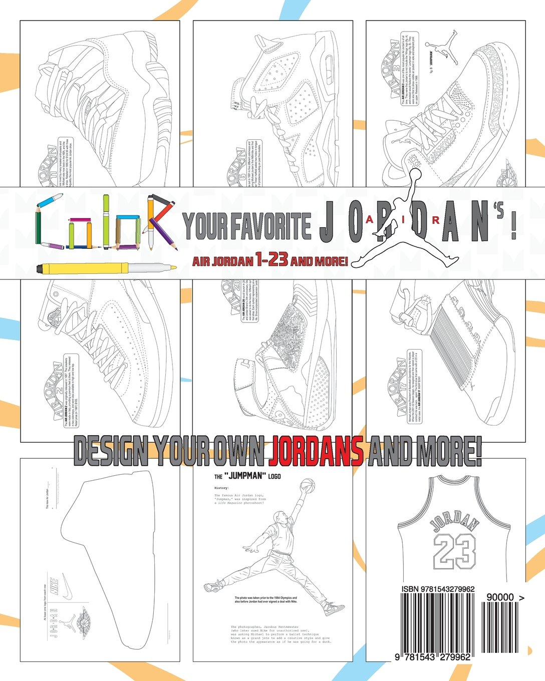retro air jordan shoes a detailed coloring book for adults and