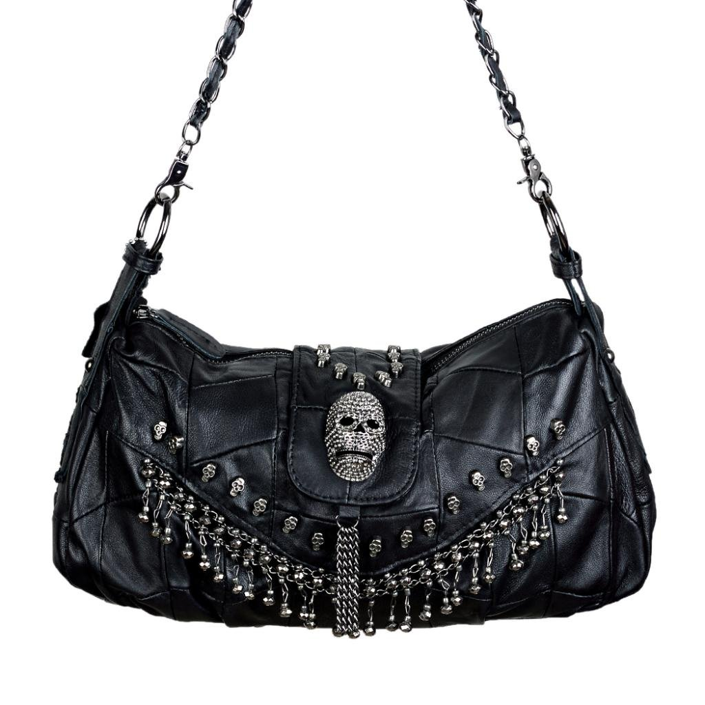 Yaluxe Women's Skull Studded Lambskin Leather Cross Body Handbag Black