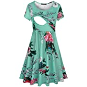 Quinee Floral Maternity Dress,Ladies Summer Short Sleeve Scoop Neck Daily Casual Clothes for Nusring Mother Mid Length Printed Post Partum Soft Tunic Dresses for Pregnancy Women Green M
