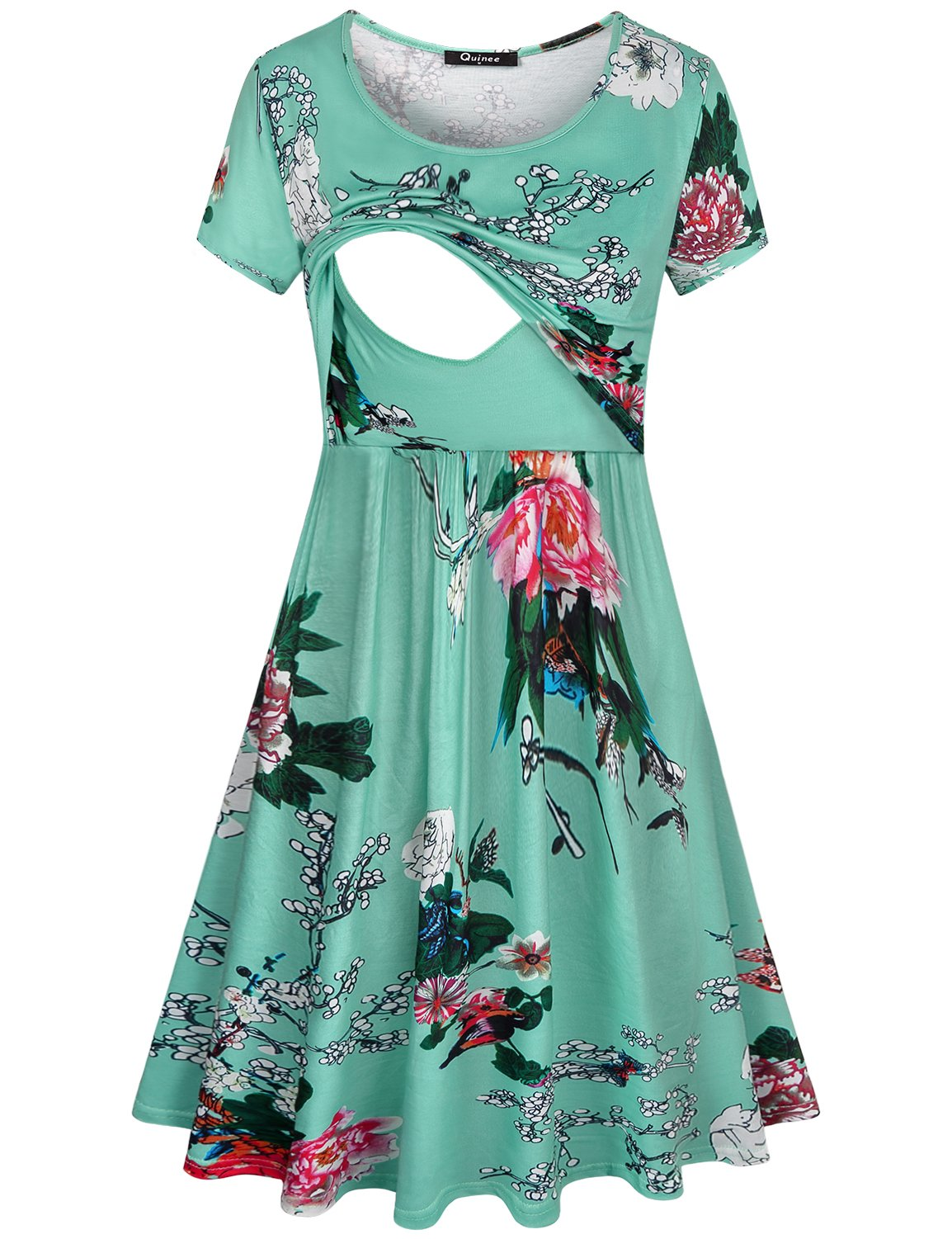 Quinee Maternity Nursing Dress,Ladies Round Neck Loose Fitting Cozy Lightweight Breathable Cotton Swing Tunic Dress Breastfeeding Outfit Slight Feminine Loose Style Pretty Tunic Floral Dress Green L