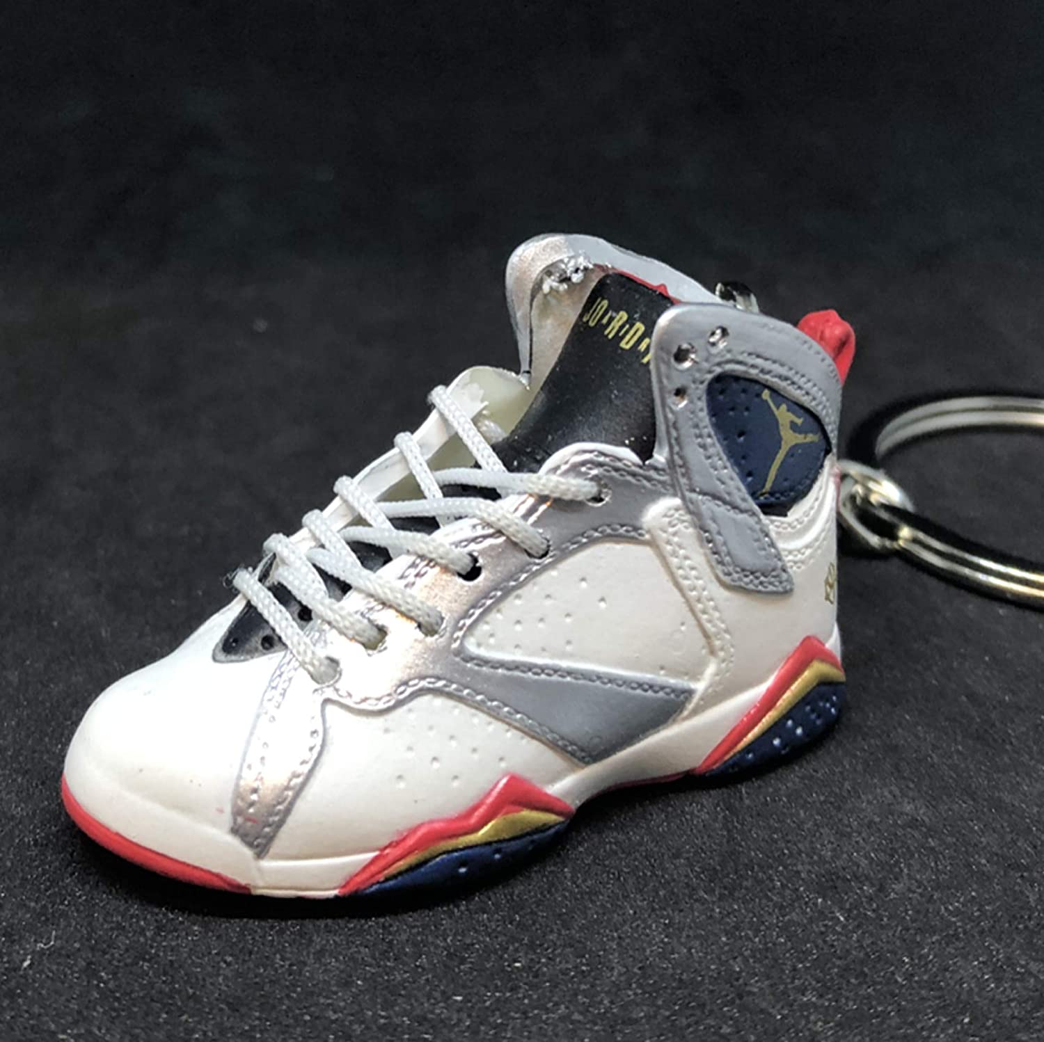 sports shoes 4ee6b e6109 Air Jordan VII 7 Retro Olympic White Gold OG Sneakers Shoes 3D Keychain  Figure