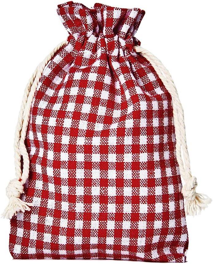 12 bolsitas de algodón, bolsas de algodón estilo rústico, tamaño 20 x 12 cm, elemento decorativo, Oktoberfest, decoración romántica, estilo romántico, a cuadros (rojo-blanco)