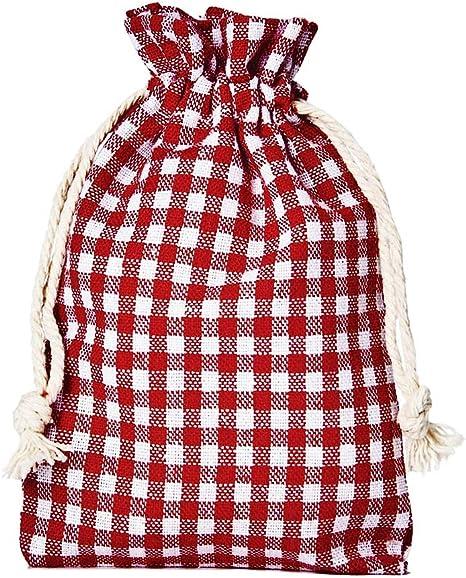 12 bolsitas de algodón, bolsas de algodón estilo rústico, tamaño 20 x 12 cm, elemento decorativo, Oktoberfest, decoración romántica, estilo romántico, a cuadros (rojo-blanco): Amazon.es: Bricolaje y herramientas