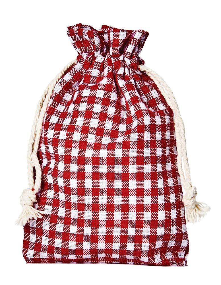 12 Adventskalender-Beutel Rot-Weiss Kariert mit Kordel. Größe 14x10 cm (Höhe x Breite) Baumwoll-Säckchen, Baumwollbeutel für Oktoberfest, Adventskalender & Weihnachtsverpackung organzabeutel24