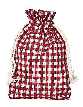 10 bolsitas de algodón, bolsas de algodón estilo rústico, tamaño 30 x 20 cm, elemento decorativo, decoración romántica, a cuadros, rojo-blanco