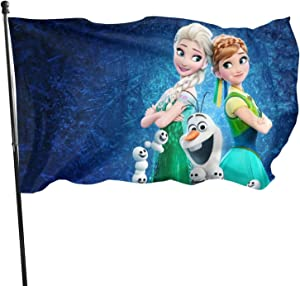 LHLYDFGG Elsa Princess Flag Decorative Outdoors Hanging Flags Home Garden and Holiday Yard Flag 3 x 5 Ft