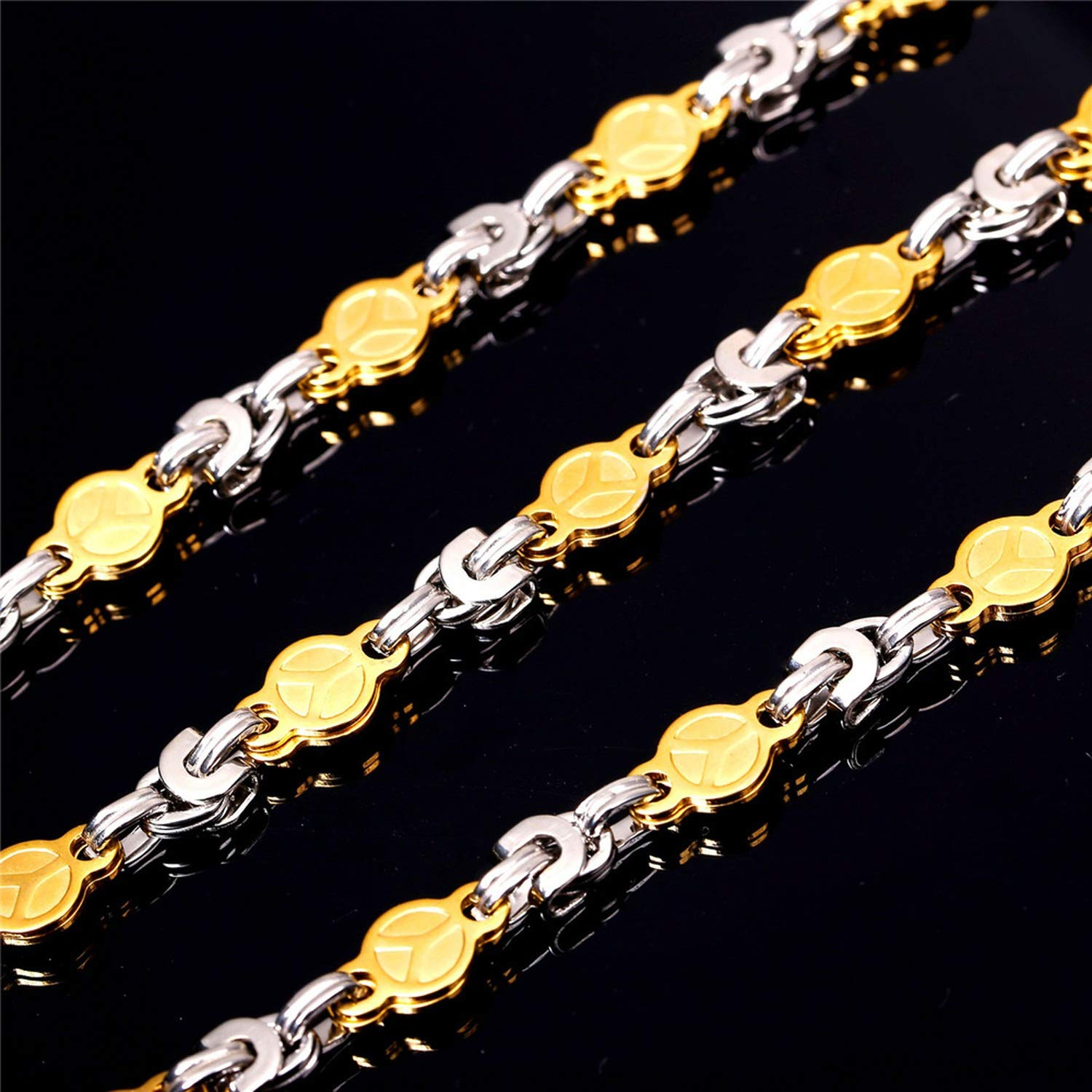Zoe-clothes-store Stainless Steel Chain Men Jewelry Trendy 316L Two Tone Gold Color 2 Size Peace Symbol Party Hip Hop Jewelry