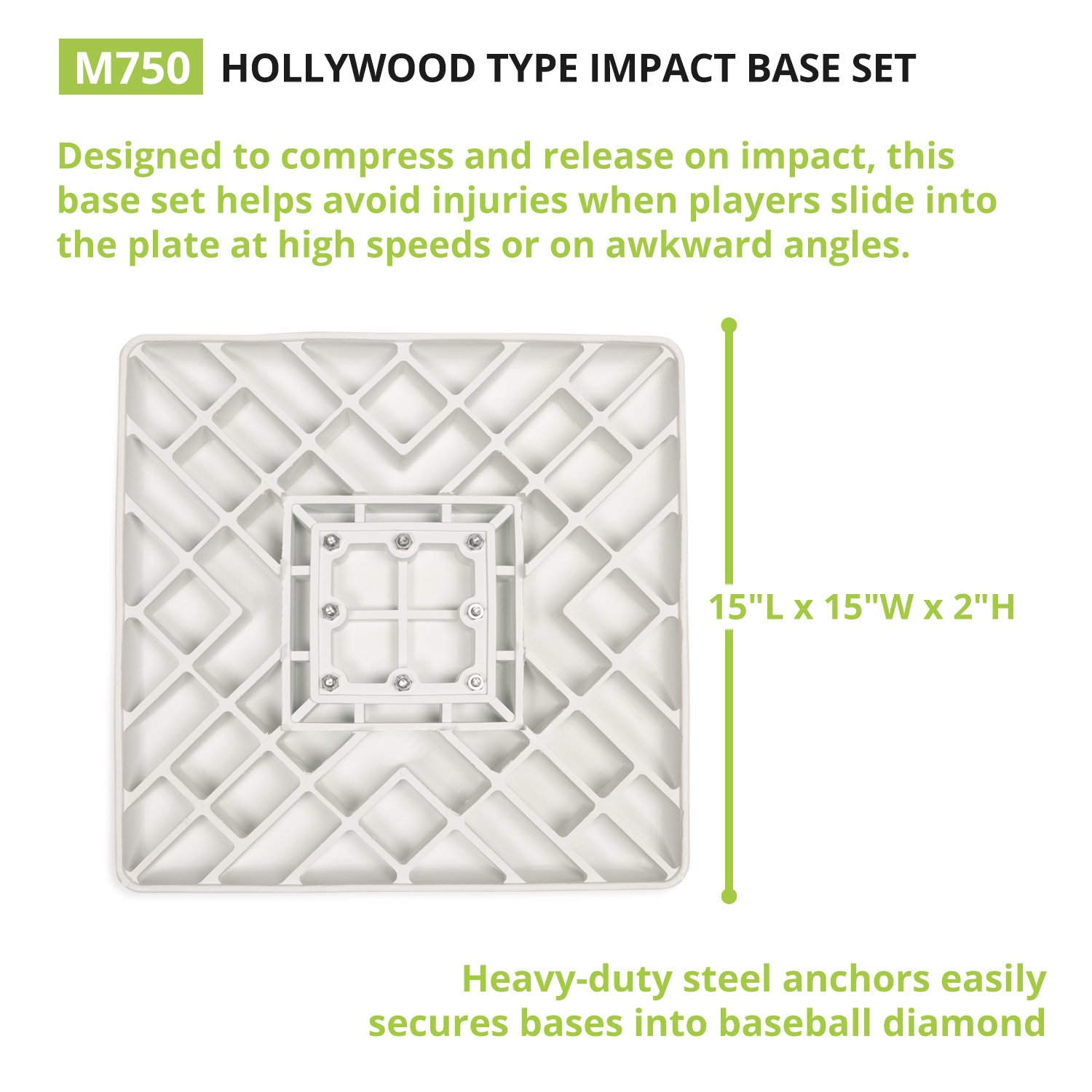 Champion Sports Impact Baseball Bases: Hollywood Type Safety Collapsible Bases with Anchor Plug - Sports Equipment Bags for Youth Baseball & Softball by Champion Sports (Image #3)