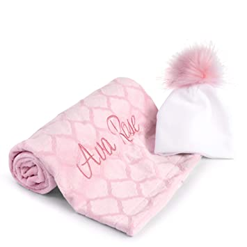 471e1fae7d5 Amazon.com  Personalized Baby Blanket Size 27 x 40 with Name Plus Adorable Newborn  Hat