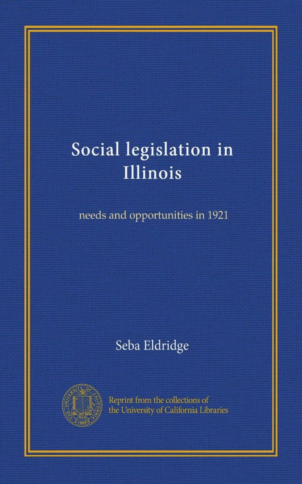 Download Social legislation in Illinois: needs and opportunities in 1921 pdf