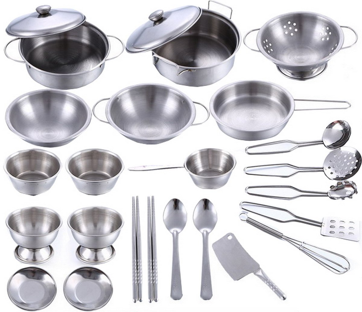 Playset Metal Pots and Pans Kitchen Cookware for Kids with Cooking Utensils Set 0f 25