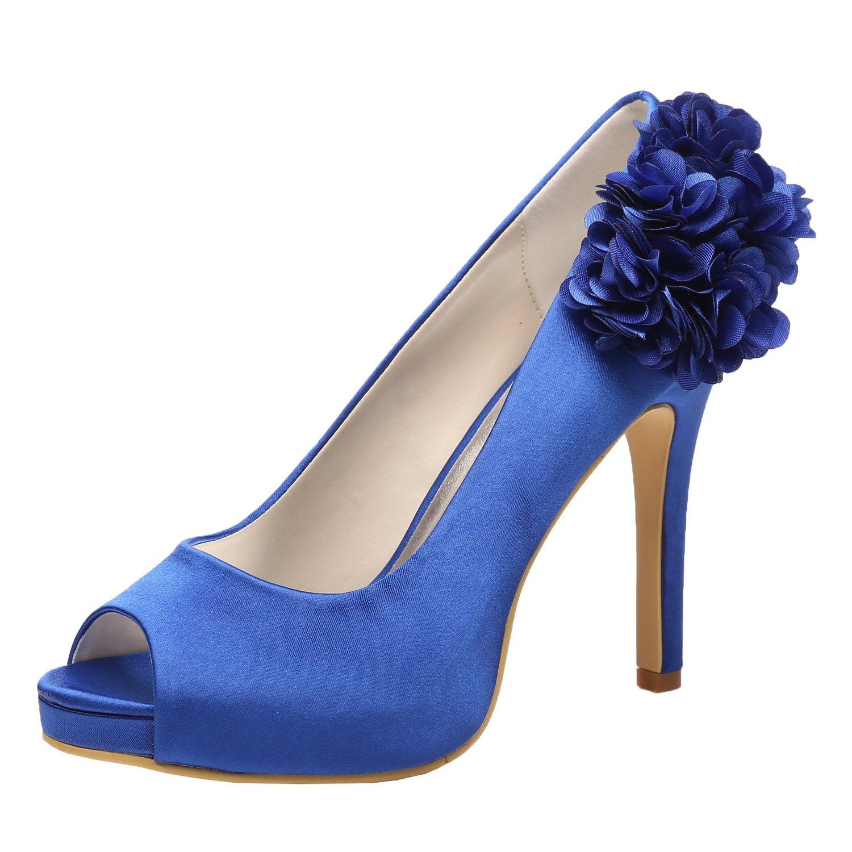 M MULGARIA Women High Heel Pumps Satin Platform Peep Toe