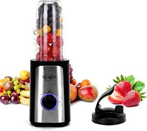 Personal Blender, 350 Watt High-Speed Smoothie Blender Single Serve Blender for Shakes and Smoothies, Mini Blender with 34Oz Pitcher,Juice Cup, Coffee Grinder Cup, and Chopper