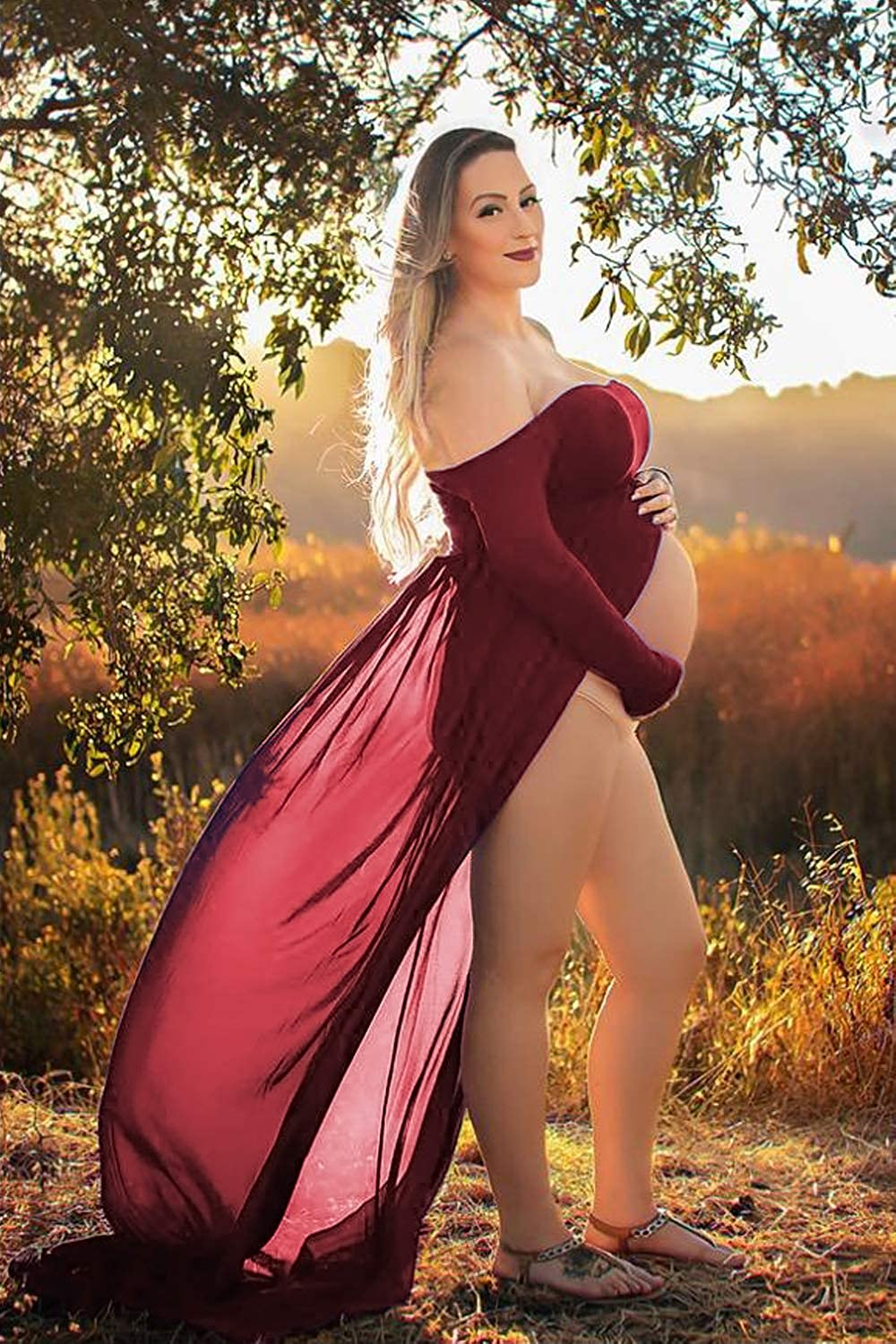 Maternity Dress for Photography Off Shoulder Long Sleeve Chiffon Gown Split Front Maxi Pregnancy Dresses for Photoshoot (A-Burgundy) at  Women's Clothing store