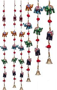 DreamKraft Indian Decorative Elephant Door Hangings Bell Half Door Length MultiColor