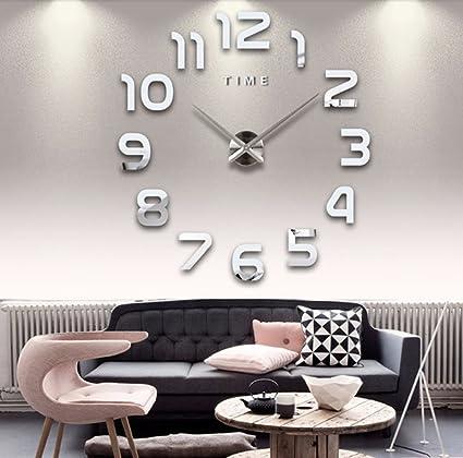 Alicemall Reloj de Pared Moderno DIY 3D Adhesivos Números sin Marco Vinilos Reloj Decoración del Hogar