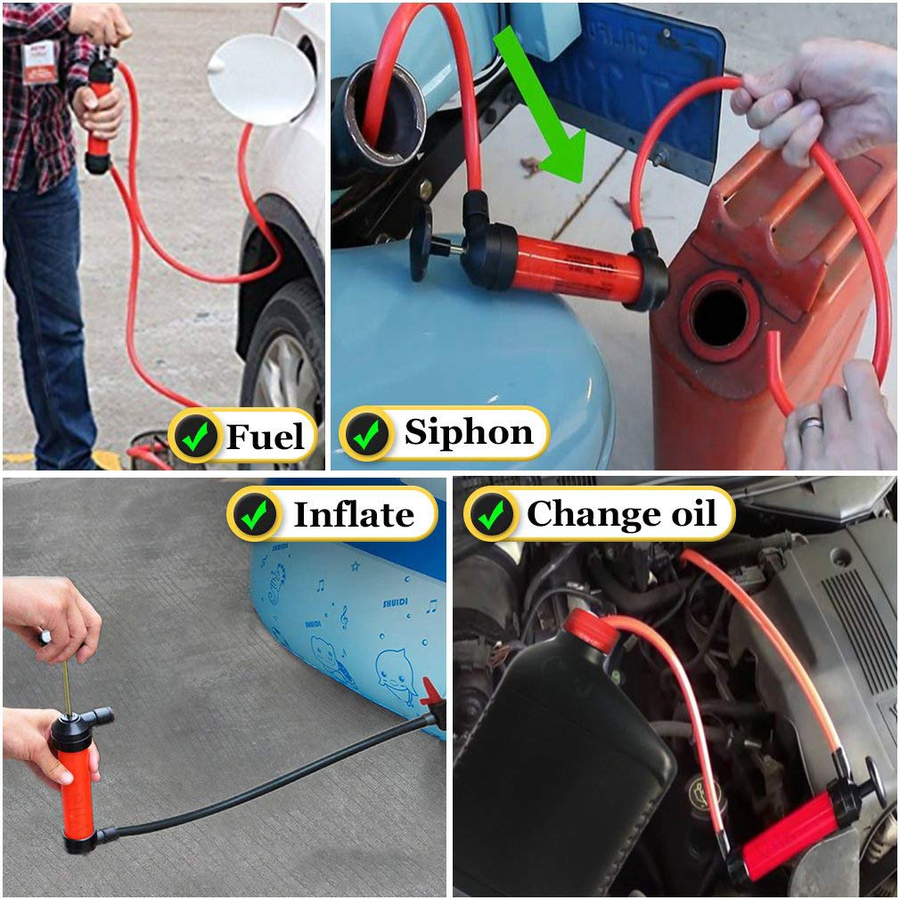 Manual Siphon Pump Kit - Heavy-Duty, Hand Pumping Pipe - Fast Acting 15'' Siphon Tube - Variety of Uses from Automotive, Rain Barrels to Water Gardens by Vila (Image #2)