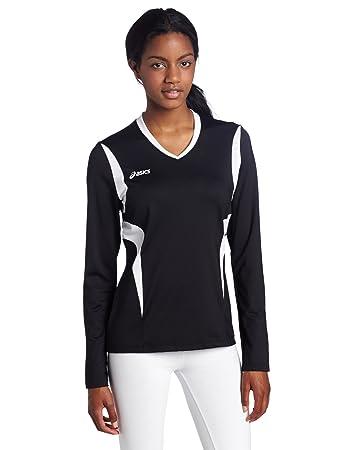 Asics Women's Mintonette Long Sleeve Tee, Black/White, X-Small
