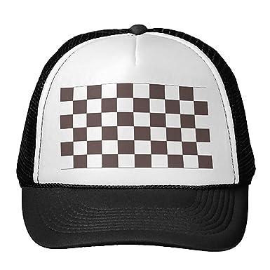 016577aa4da3d Unisex Black Chocolate Brown Checkerboard Pattern Trucker Classic ...