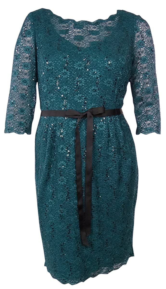 Alex Evenings Floral Sequined Lace V-Back Belted Dress