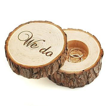 Anillos de Boda grabado Caja de madera Hacemos Madera Anillo Caja para Beare Regalos de boda novia ducha regalos para parejas: Amazon.es: Hogar