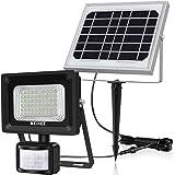 Luz solar con sensor movimiento, MEIKEE foco solar con detector PIR, lámpara solar de 60leds 400lm, impermeable IP66, iluminación solar para exterior