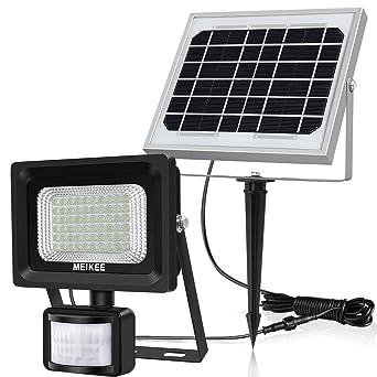 Luz Solar con Sensor de Movimiento MEIKEE 60 LED Lámpara Solar de Exterior Foco Solar Impermeable