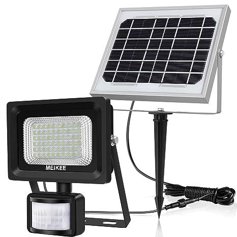 Luz solar con sensor movimiento, MEIKEE foco solar con detector PIR, lámpara solar de