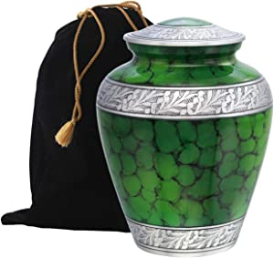 Eternitymart Cloud Fire Creamation Urn - Affordable Metal Urn - Handcrafted Solid Metal Urn for Ashes, Adult Cremation Urn with Free Velvet Bag (Green)