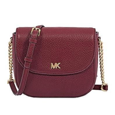 cee80d126a5c Michael Kors Mott Pebbled Leather Dome Crossbody - Oxblood  Handbags   Amazon.com