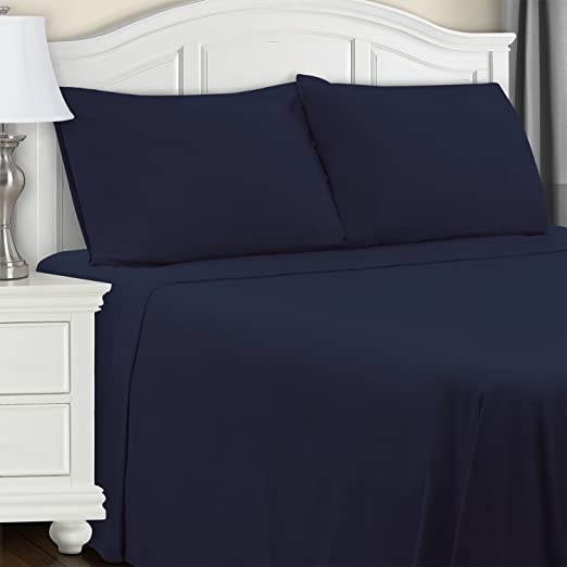 Amazon Com Superior Cotton Flannel Bed Sheet Set Cotton Bed Sheets Deep Pocket Sheets Extra Soft Navy Blue Twin Size Home Kitchen