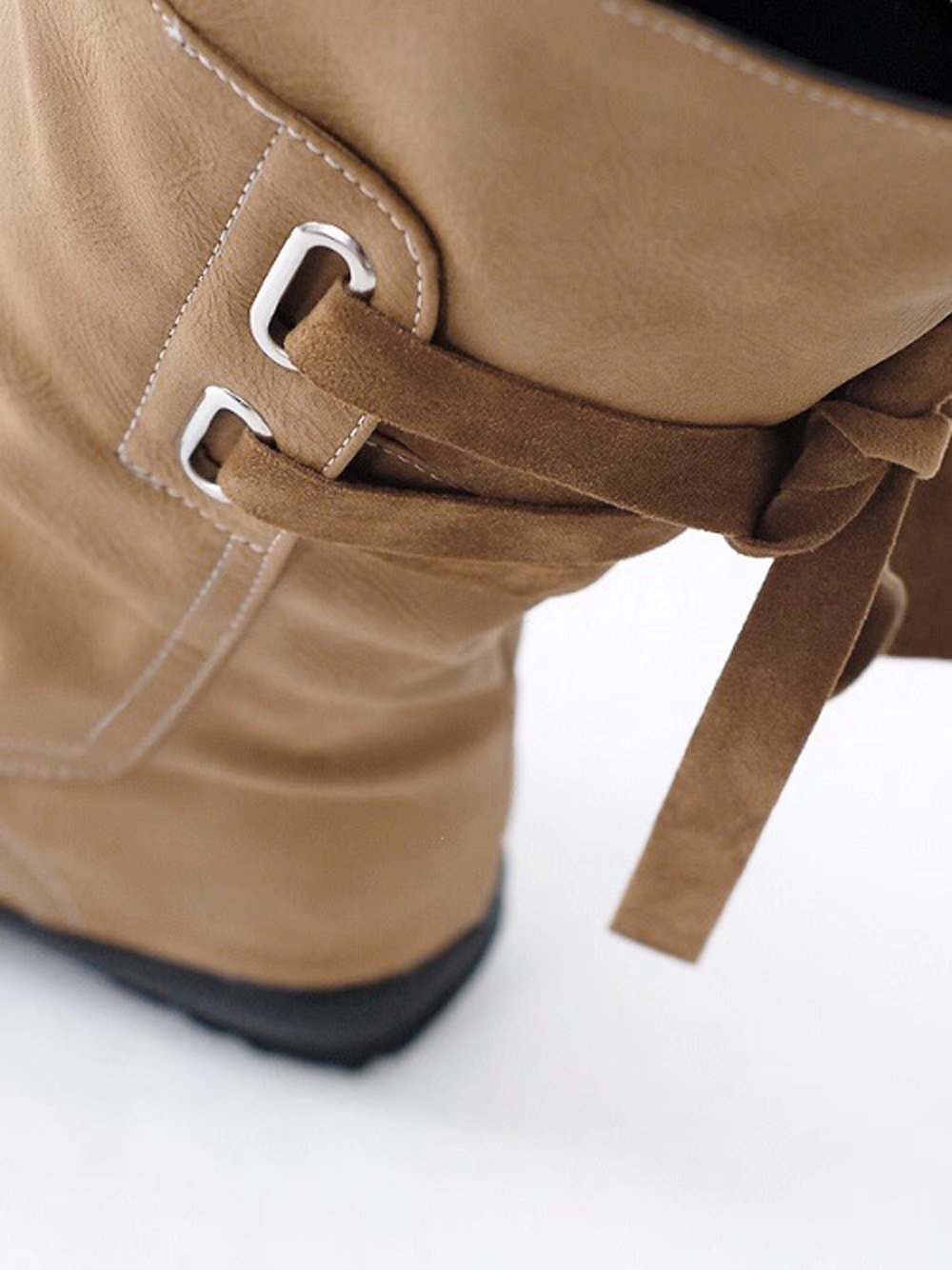 Leoy88 Moda mujer Shelly Wide Calf Botas planas con cordones de cuero  Artificial hasta la rodilla marrón 06c3aca1cde