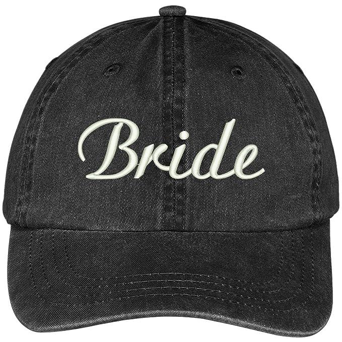 fc9bb9bb87b3d Trendy Apparel Shop Bride Embroidered Wedding Party Pigment Dyed Cotton Cap  - Black