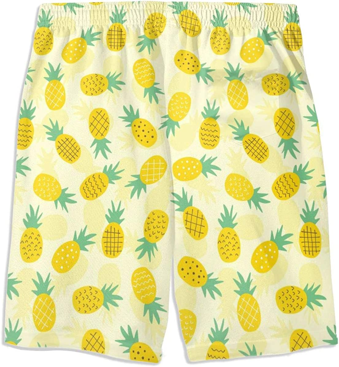 CAWHJDW Boys Swim Trunks Pineapple Splash Quick Dry Board Shorts Beach Size from 7-18 T
