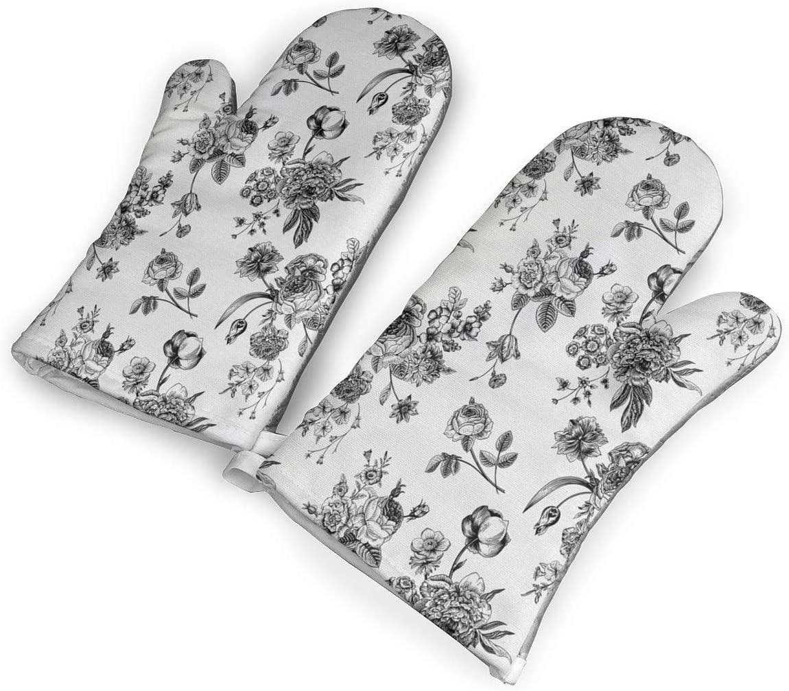 Feederm Vintage Floral Pattern Victorian Classic Oven Mitts,Professional Heat Resistant Microwave Oven Insulation Thickening Gloves Baking Pot Mittens Soft Inner Lining Kitchen Cooking