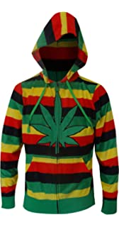 Underboss Mens Rasta Themed Ganja Weed Leaf Cozy Hooded Robe
