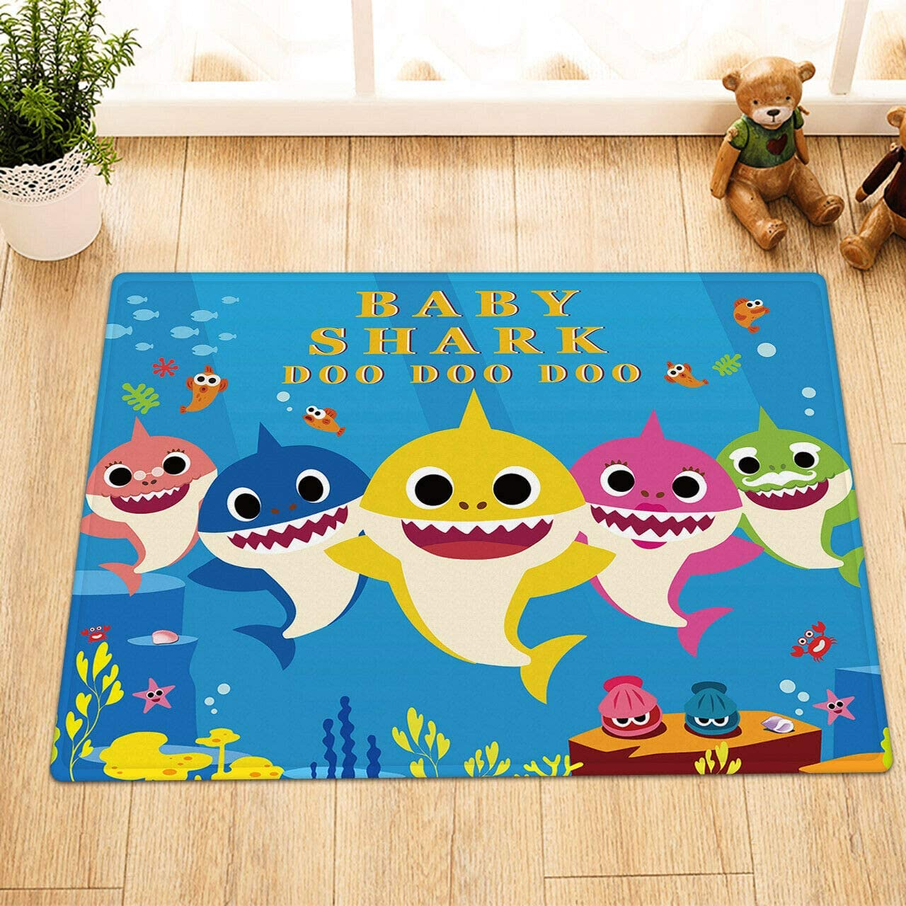 CDHBH Cartoon Baby Shark Blue sea Bottom Home Hotel Room Door Floor mat Bathroom Bedroom Kitchen Living Room Children's Carpet Non-Slip Material Flannel 40x60cm