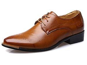 Men's Dress Shoes Classic Modern Comfort Lace Brogue Casual Oxfords by Santimon Tan 8 D(M) US