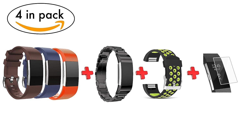 Isonity Fitbit Charge 2用交換ラージバンド 4本パック オールインワン 3 ブラック ステンレススチール + グリーンシリコン スポーツリストバンド スクリーンプロテクター付き   B07H8T2QGZ