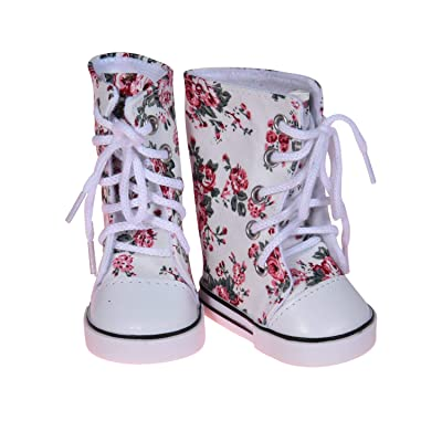 18 inch Doll Printed Hightops Sneakers White - 18 Inch Sneakers for Doll Fits American Girl: Toys & Games