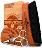 Beard Brush 100% Pure Firm Boar Bristles | Giveaway Dual Action Comb & Mustache Trimming Scissors Presented in Premium Gift Box | Unique All Natural First-Cut Hard Hog Hair
