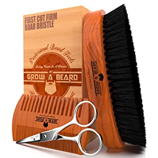 Beard Brush 100% Pure Firm Boar Bristles | Christmas Giveaway Dual Action Comb & Mustache Trimming Scissors Presented in Premium Gift Box | Unique All Natural First-Cut Hard Hog Hair