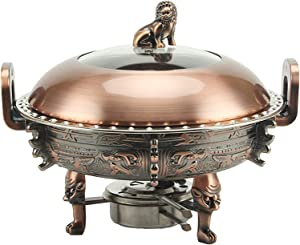 3L Round Chafing Dish, Stainless Steel Chafer Warmers Set with Food Pans, Aluminum Stand, Visible Pot Lid And Fuel Holders for Buffet, Weddings, Parties,Red copper