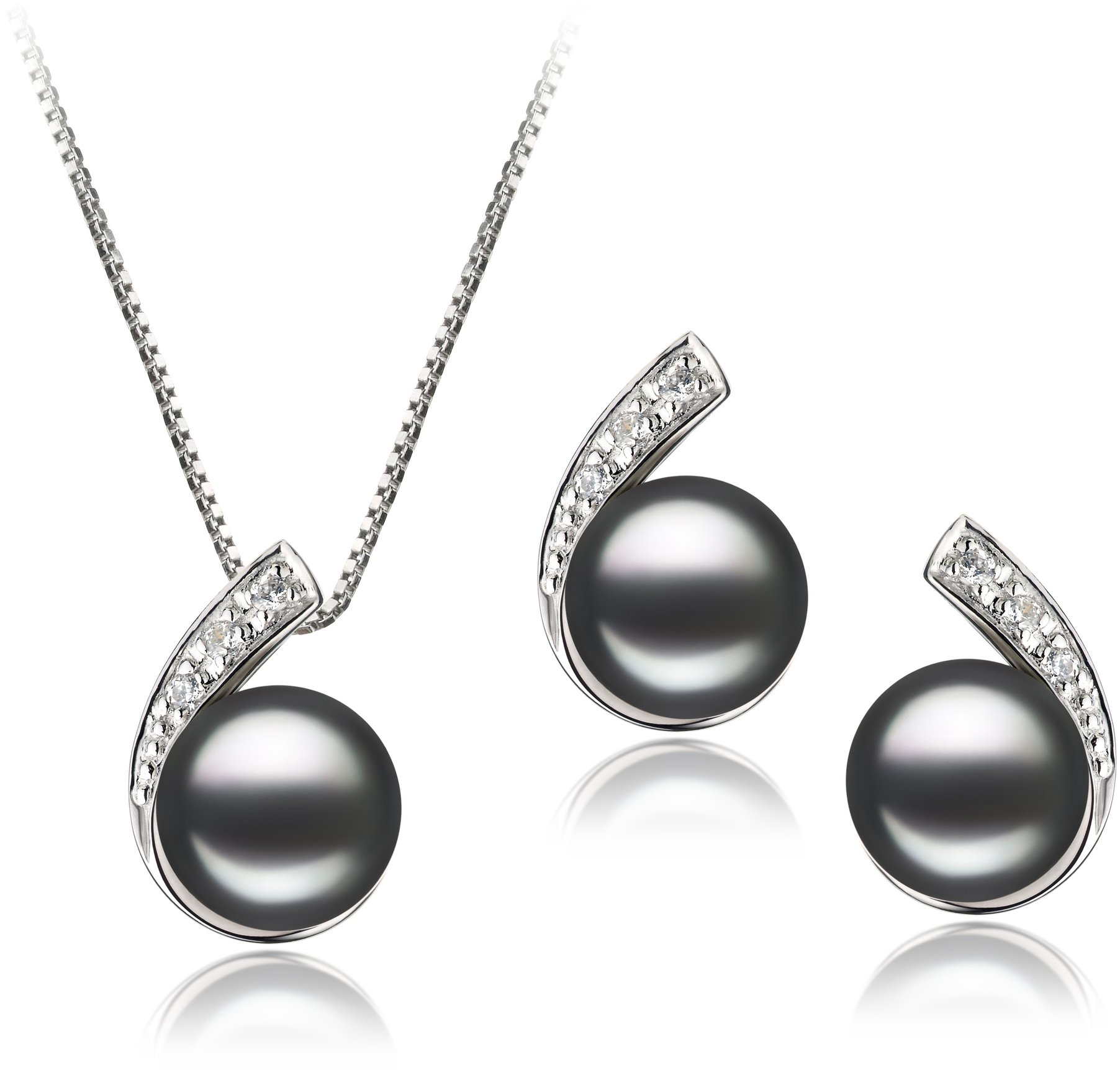 PearlsOnly - Claudia Black 7-8mm AA Quality Freshwater 925 Sterling Silver Cultured Pearl Set