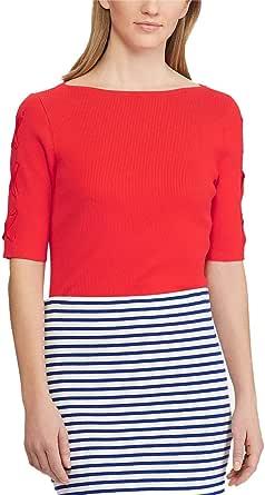 LAUREN RALPH LAUREN Womens Lace-Up-Sleeve Sweater
