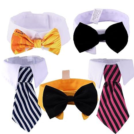 7bf21681cfbe Dog Collar Tie Pet Cat Tie -5 Pack- Small Dog Stripe Bow Tie Neckties