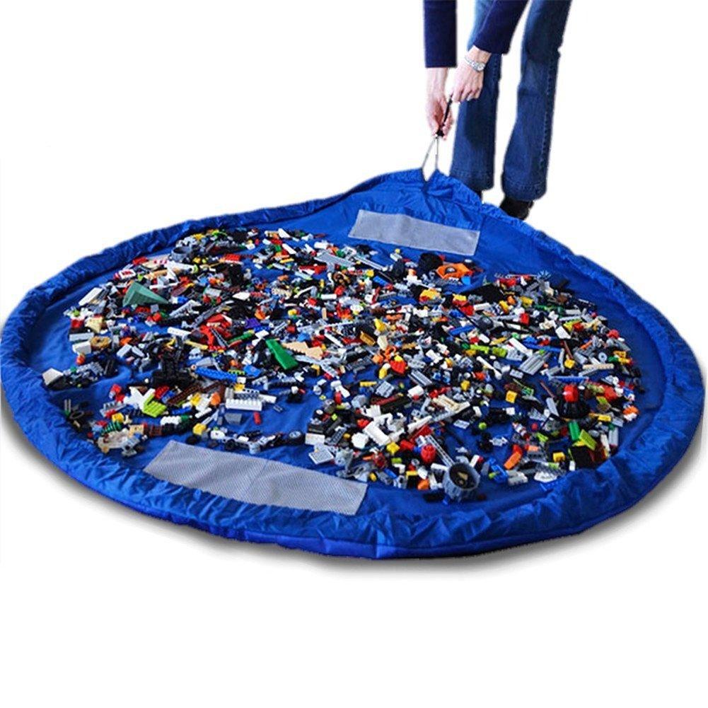 HENGSONG Kinder Tragbare Aufräumsack Spieldecke Spielzeug Speicher Tasche Aufbewahrung Beutel Spielzeugaufbewahrung 150cm (Blau) mei_mei9 ME2930